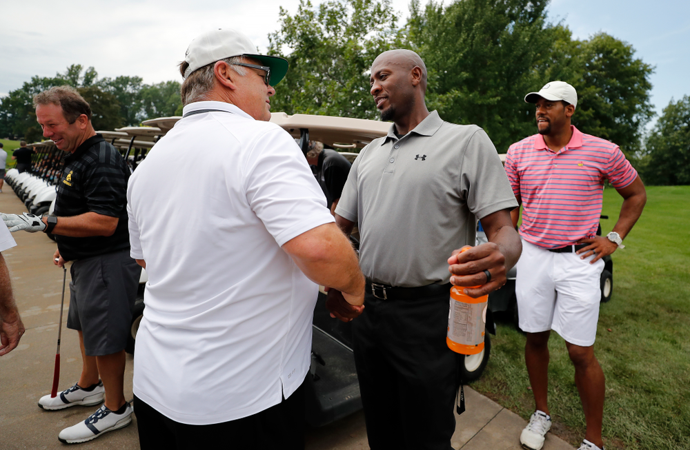 Kenyon Murray and Mike Street during the  2018 Chris Street Memorial Golf Outing Monday, August 27, 2018 at Finkbine Golf Course. (Brian Ray/hawkeyesports.com)