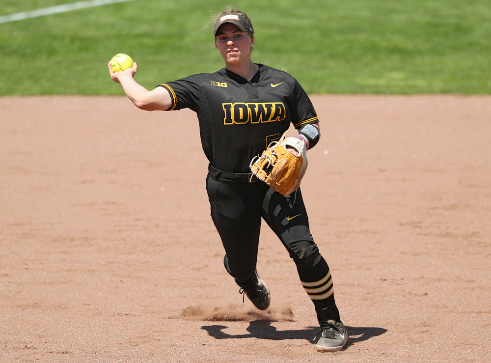 Iowa third baseman Sydney Owens (5) throws to first for an out during the third inning of their game against Ohio State at Pearl Field in Iowa City on Saturday, May. 4, 2019. (Stephen Mally/hawkeyesports.com)