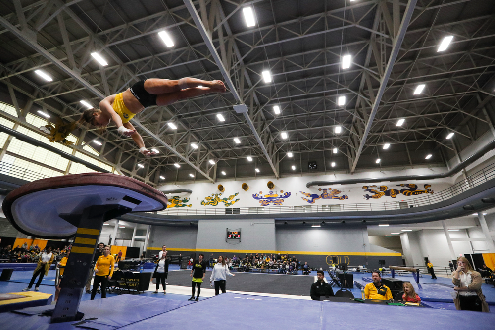 Erin Castle performs on the vault during the Iowa women's gymnastics Black and Gold Intraquad Meet on Saturday, December 7, 2019 at the UI Field House. (Lily Smith/hawkeyesports.com)