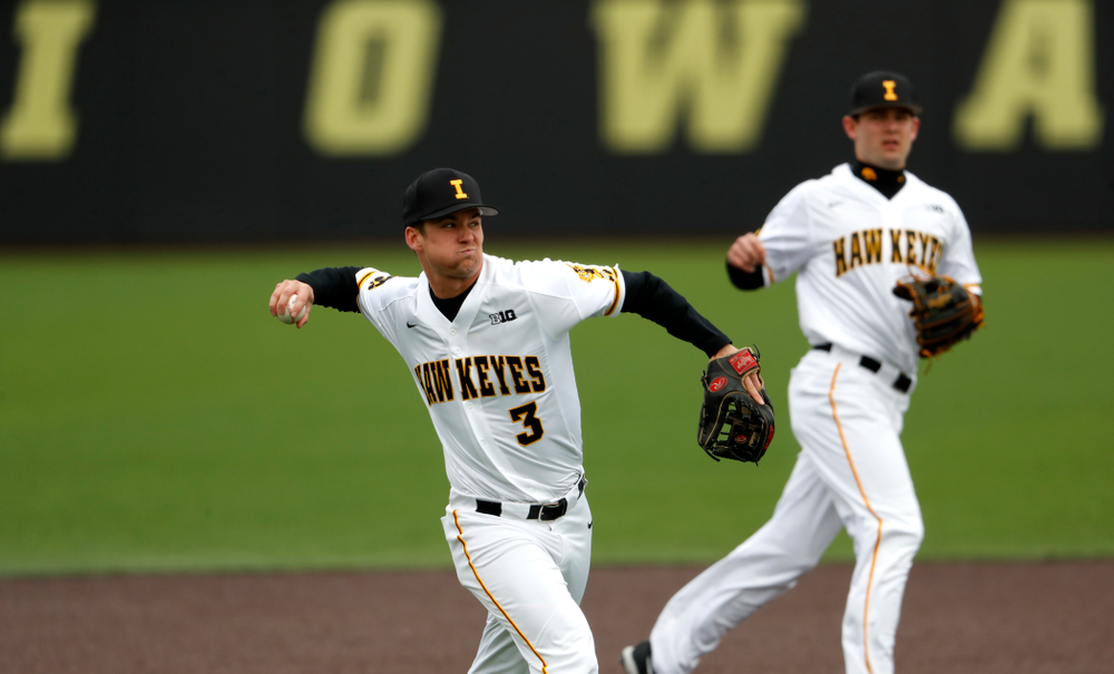 Iowa Hawkeyes infielder Matt Hoeg (3) during a double header against the Indiana Hoosiers Friday, March 23, 2018 at Duane Banks Field. (Brian Ray/hawkeyesports.com)