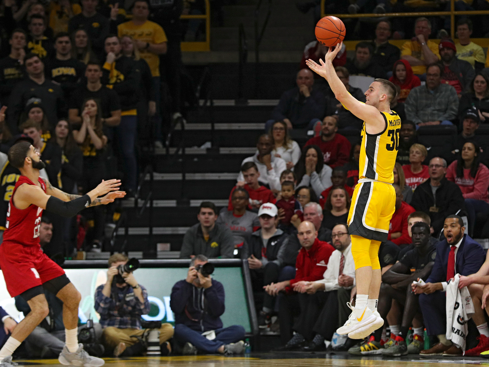 Iowa Hawkeyes guard Connor McCaffery (30) makes a basket during the first half of their game at Carver-Hawkeye Arena in Iowa City on Saturday, February 8, 2020. (Stephen Mally/hawkeyesports.com)