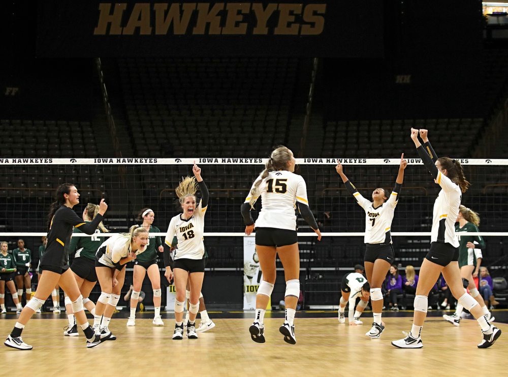 Iowa's Halle Johnston (4), Kyndra Hansen (8), Hannah Clayton (18), Maddie Slagle (15), Brie Orr (7), and Courtney Buzzerio (2) celebrate a score during the second set of their volleyball match at Carver-Hawkeye Arena in Iowa City on Sunday, Oct 13, 2019. (Stephen Mally/hawkeyesports.com)