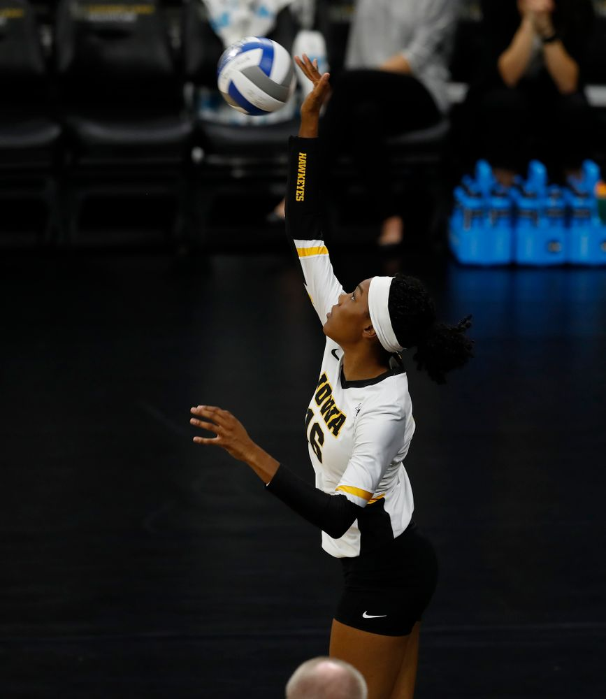 Iowa Hawkeyes outside hitter Taylor Louis (16) against Eastern Illinois Sunday, September 9, 2018 at Carver-Hawkeye Arena. (Brian Ray/hawkeyesports.com)