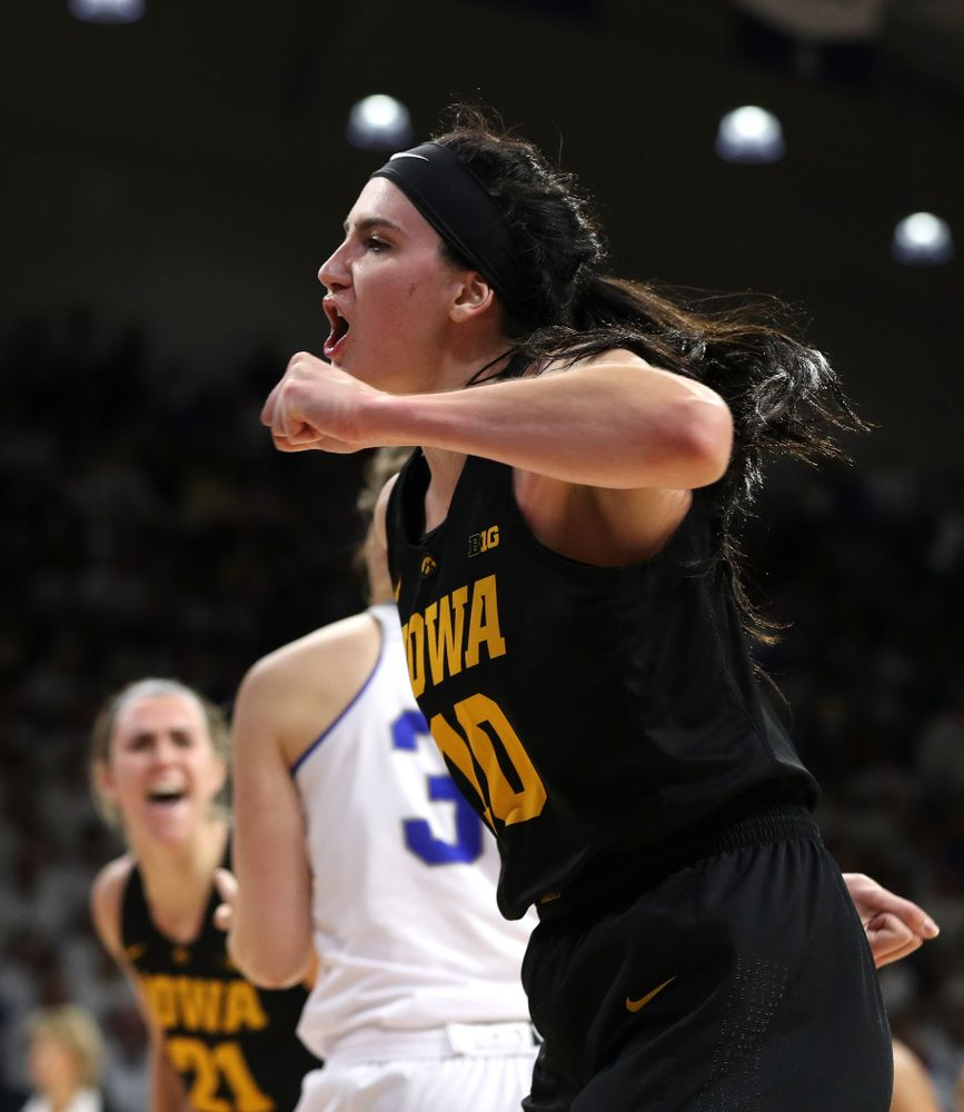 Iowa Hawkeyes forward Megan Gustafson (10) reacts after an and one against the Drake Bulldogs Friday, December 21, 2018 at the Knapp Center in Des Moines. (Brian Ray/hawkeyesports.com)