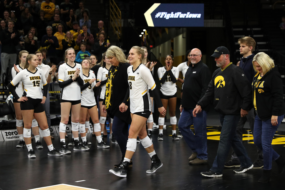 Iowa Hawkeyes right side hitter Reghan Coyle (8) during senior day activities before their game against the Ohio State Buckeyes Saturday, November 24, 2018 at Carver-Hawkeye Arena. (Brian Ray/hawkeyesports.com)