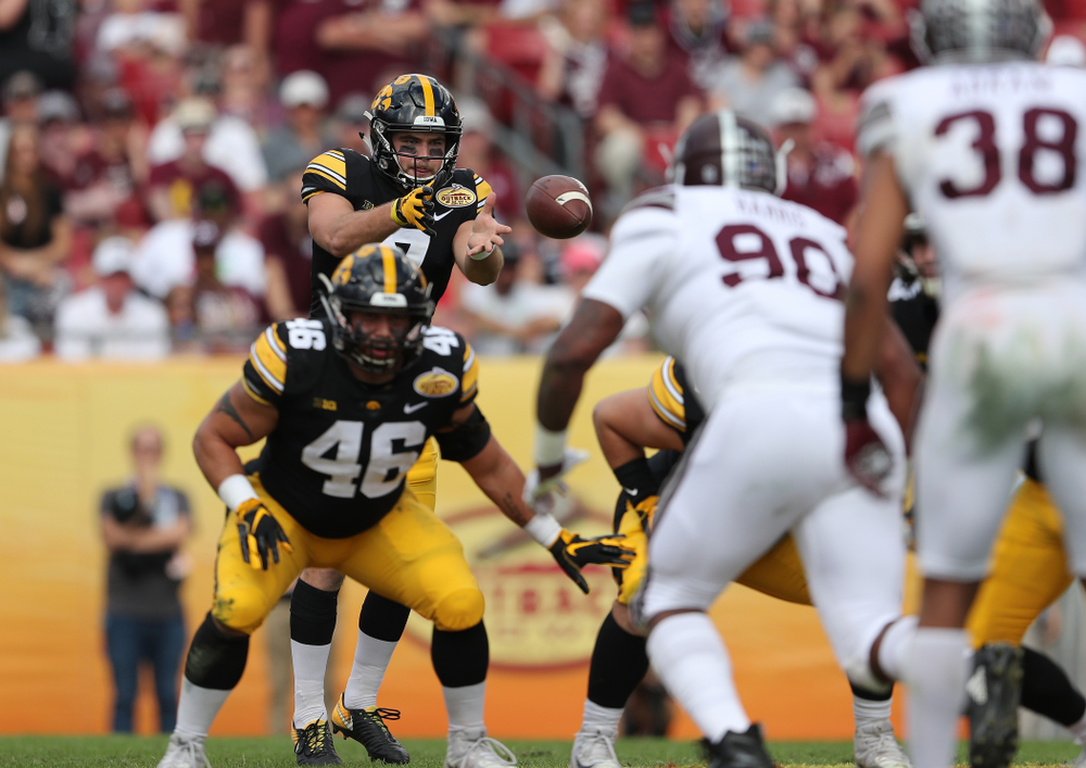 Iowa Hawkeyes punter Colten Rastetter (7) during the Outback Bowl Tuesday, January 1, 2019 at Raymond James Stadium in Tampa, FL. (Brian Ray/hawkeyesports.com)