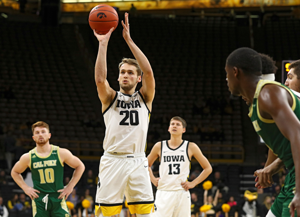 Iowa Hawkeyes forward Riley Till (20) shoots a free throw during the second half of their game at Carver-Hawkeye Arena in Iowa City on Sunday, Nov 24, 2019. (Stephen Mally/hawkeyesports.com)