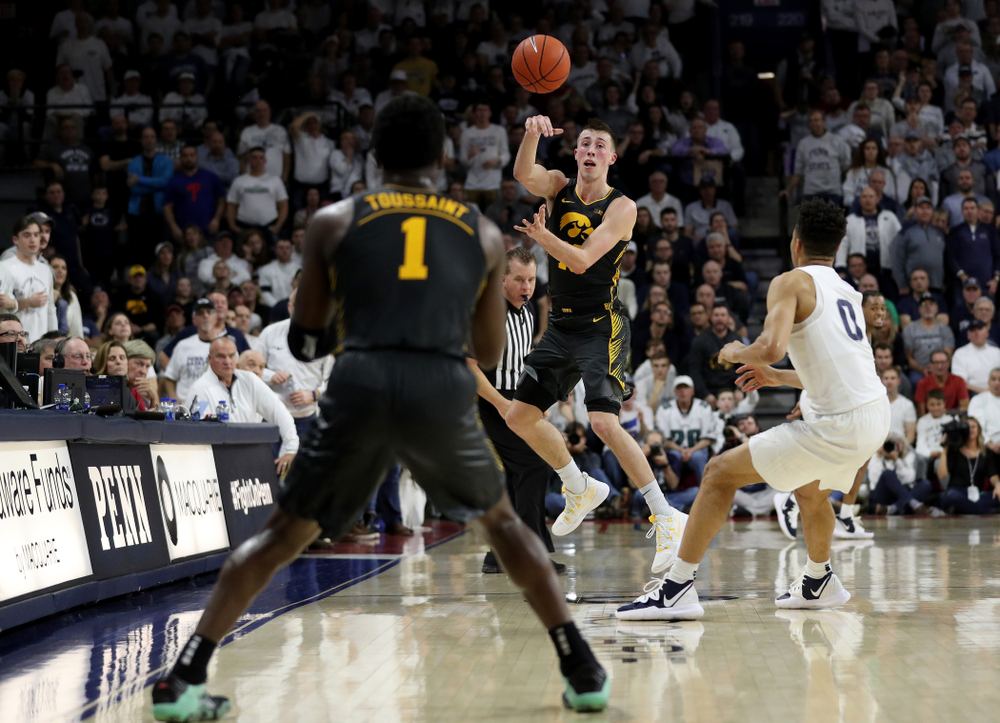 Iowa Hawkeyes guard Joe Wieskamp (10) saves a ball from going out of bounds against Penn State Saturday, January 4, 2020 at the Palestra in Philadelphia. (Brian Ray/hawkeyesports.com)