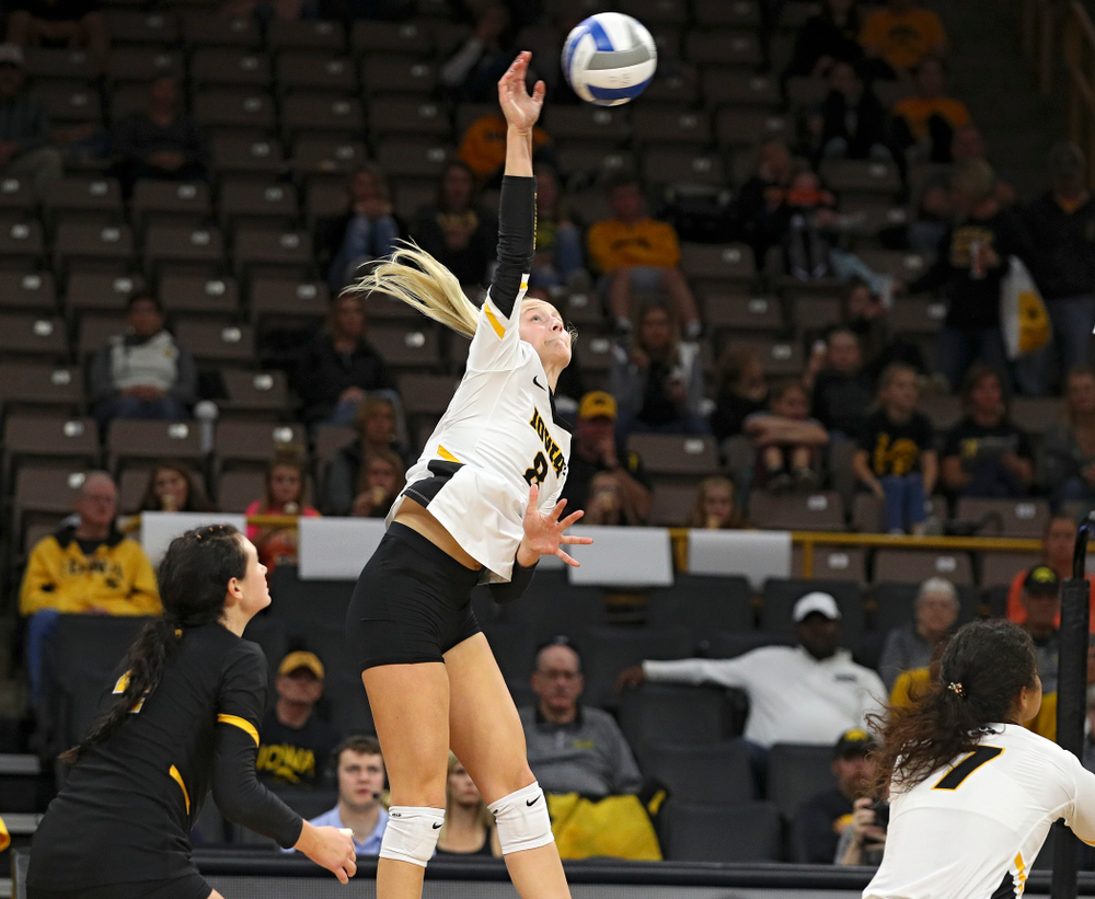 Iowa's Kyndra Hansen (8) goes up for a kill during the third set of their volleyball match at Carver-Hawkeye Arena in Iowa City on Sunday, Oct 13, 2019. (Stephen Mally/hawkeyesports.com)