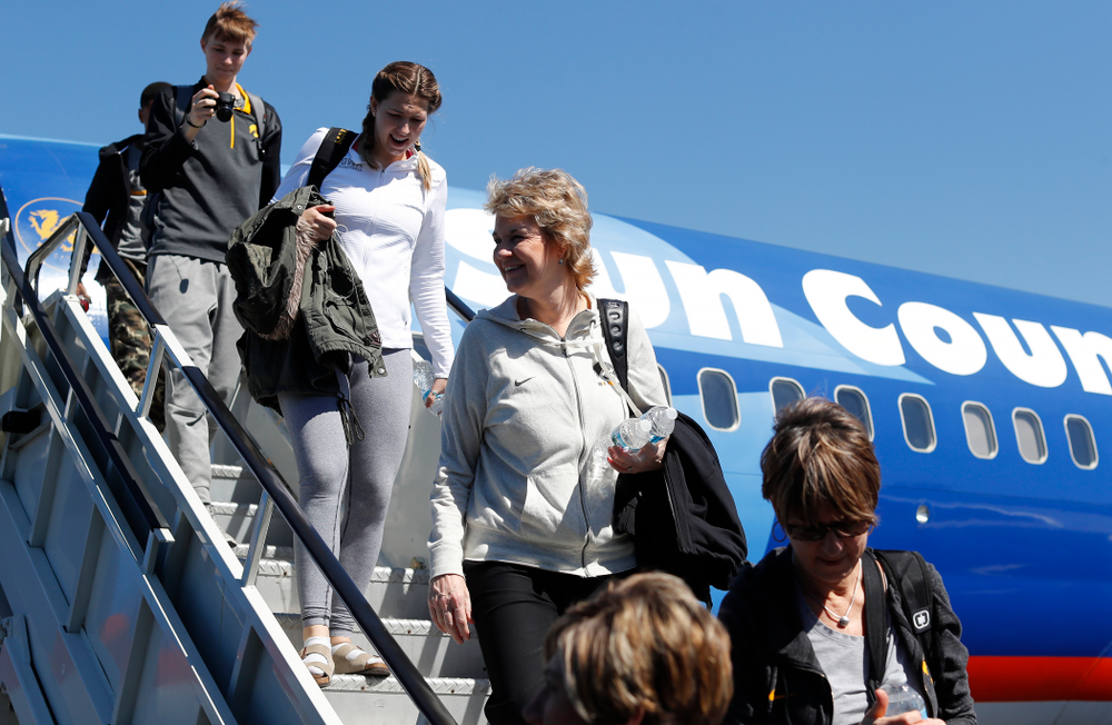 Iowa Hawkeyes head coach Lisa Bluder as they arrive in Los Angeles for the first round of the 2018 NCAA Tournament Thursday, March 15, 2018 at LAX. (Brian Ray/hawkeyesports.com)