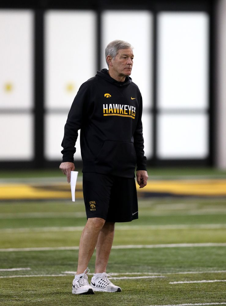 Iowa Hawkeyes head coach Kirk Ferentz during practice Wednesday, December 12, 2018 at the Hansen Football Performance Center in preparation for the Outback Bowl game against Mississippi State. (Brian Ray/hawkeyesports.com)