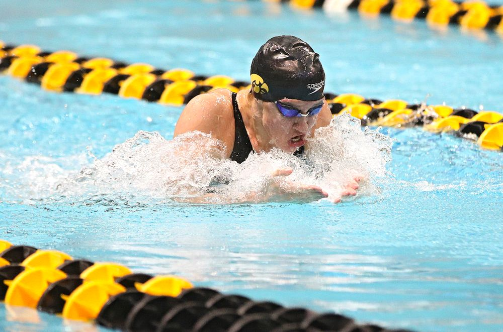 Iowa's Sage Ohlensehlen swims the breaststroke section of the 200 yard medley relay event during the 2020 Big Ten Women's Swimming and Diving Championships at the Campus Recreation and Wellness Center in Iowa City on Wednesday, February 19, 2020. (Stephen Mally/hawkeyesports.com)