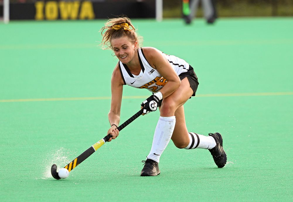 Iowa's Maddy Murphy (26) passes during the third quarter of their game at Grant Field in Iowa City on Friday, Sep 13, 2019. (Stephen Mally/hawkeyesports.com)