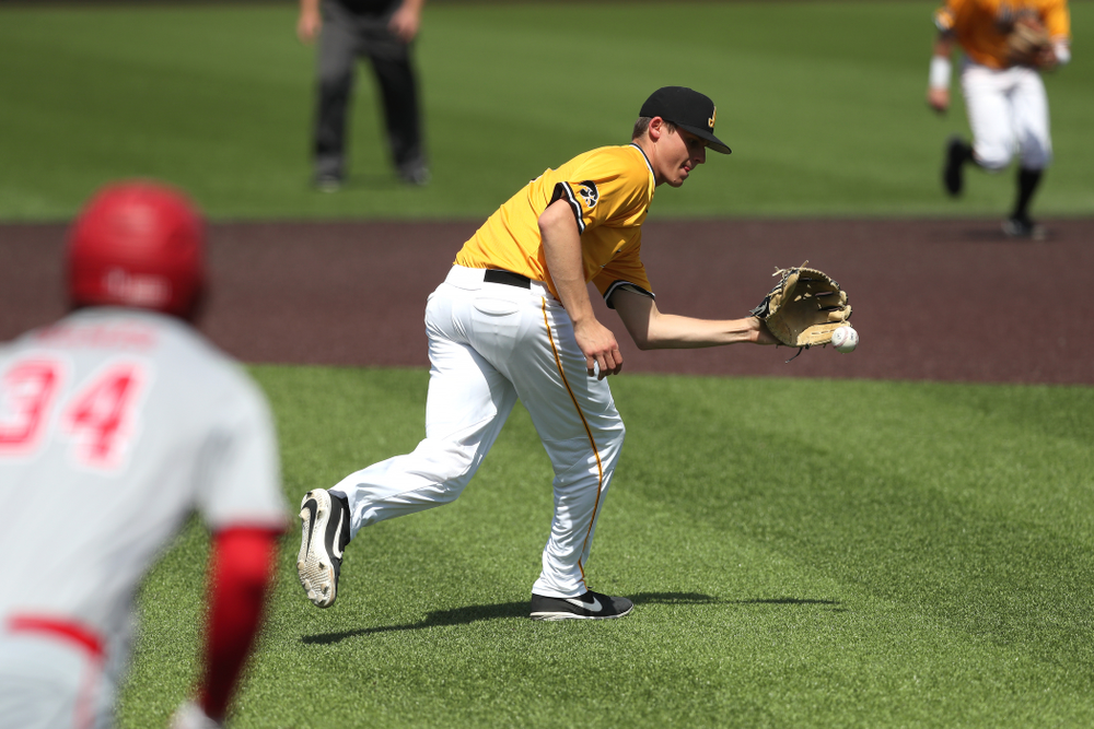 Iowa Hawkeyes Grant Judkins (7) against the Nebraska Cornhuskers Sunday, April 21, 2019 at Duane Banks Field. (Brian Ray/hawkeyesports.com)