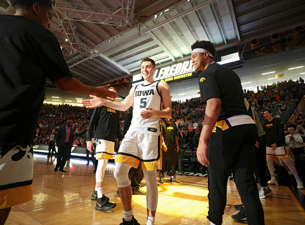 Iowa Hawkeyes guard CJ Fredrick (5) is introduced before the game at Carver-Hawkeye Arena in Iowa City on Sunday, December 29, 2019. (Stephen Mally/hawkeyesports.com)