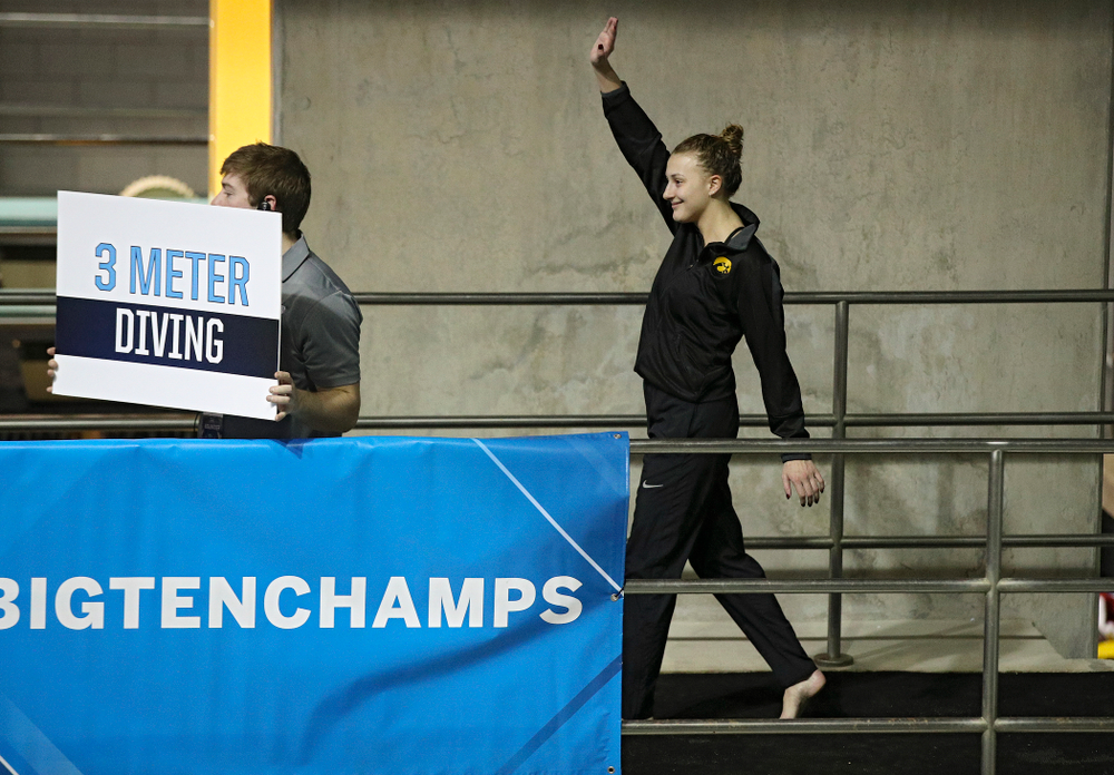 Iowa's Samantha Tamborski is introduced for the women's 3 meter diving final event during the 2020 Women's Big Ten Swimming and Diving Championships at the Campus Recreation and Wellness Center in Iowa City on Friday, February 21, 2020. (Stephen Mally/hawkeyesports.com)
