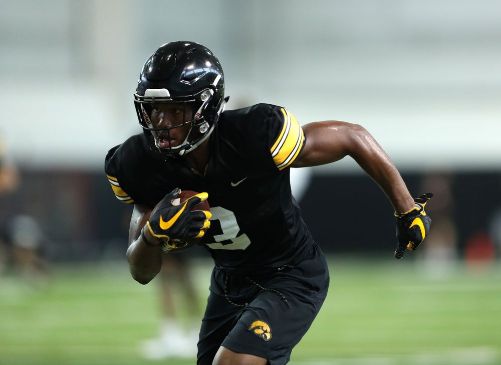 Iowa Hawkeyes wide receiver Tyrone Tracy Jr. (3) during Fall Camp Practice No. 16 Tuesday, August 20, 2019 at the Ronald D. and Margaret L. Kenyon Football Practice Facility. (Brian Ray/hawkeyesports.com)