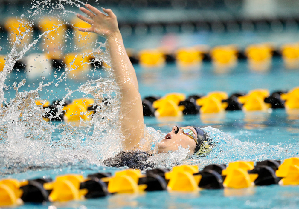 Iowa's Zoe Pawloski swims in the women's 200 yard backstroke preliminary event during the 2020 Women's Big Ten Swimming and Diving Championships at the Campus Recreation and Wellness Center in Iowa City on Saturday, February 22, 2020. (Stephen Mally/hawkeyesports.com)