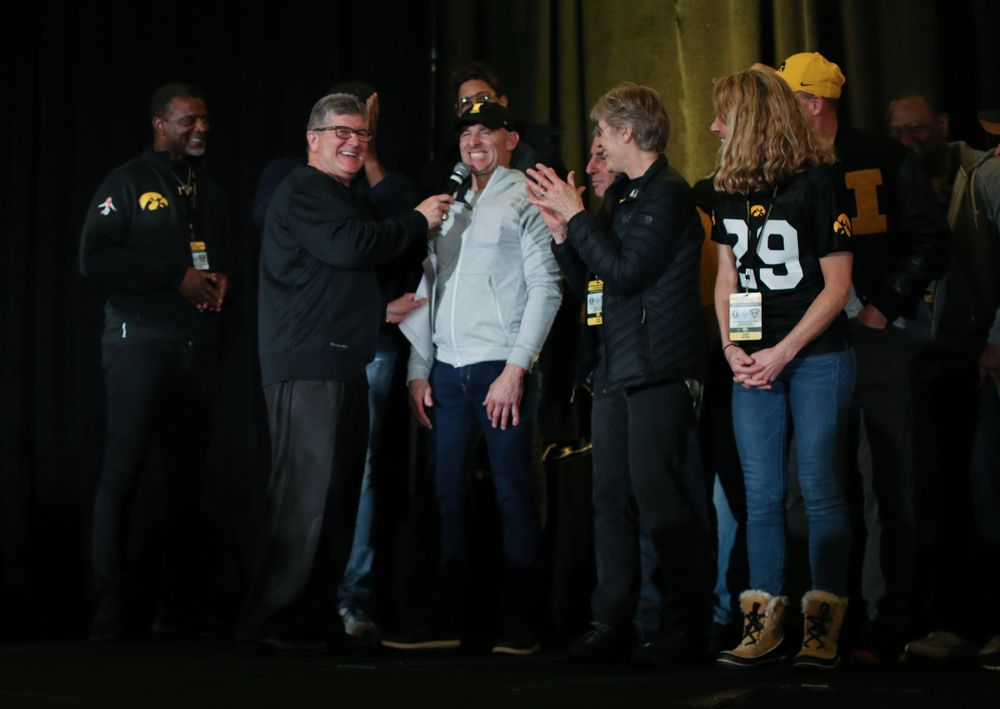 Tim Dwight and other letter winners are introduced during the Holiday Bowl Hawkeye Huddle Thursday, December 26, 2019 at the Hilton in downtown San Diego. (Brian Ray/hawkeyesports.com)