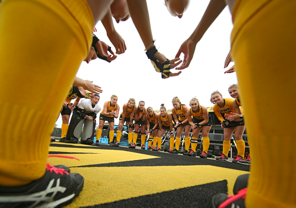The Iowa Hawkeyes huddle before their game against UC Davis at Grant Field in Iowa City on Sunday, Oct 6, 2019. (Stephen Mally/hawkeyesports.com)