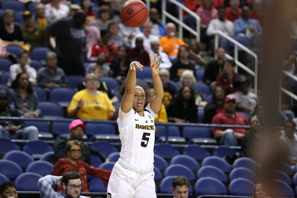Iowa Hawkeyes guard Alexis Sevillian (5) against the NC State Wolfpack in the regional semi-final of the 2019 NCAA Women's College Basketball Tournament Saturday, March 30, 2019 at Greensboro Coliseum in Greensboro, NC.(Brian Ray/hawkeyesports.com)