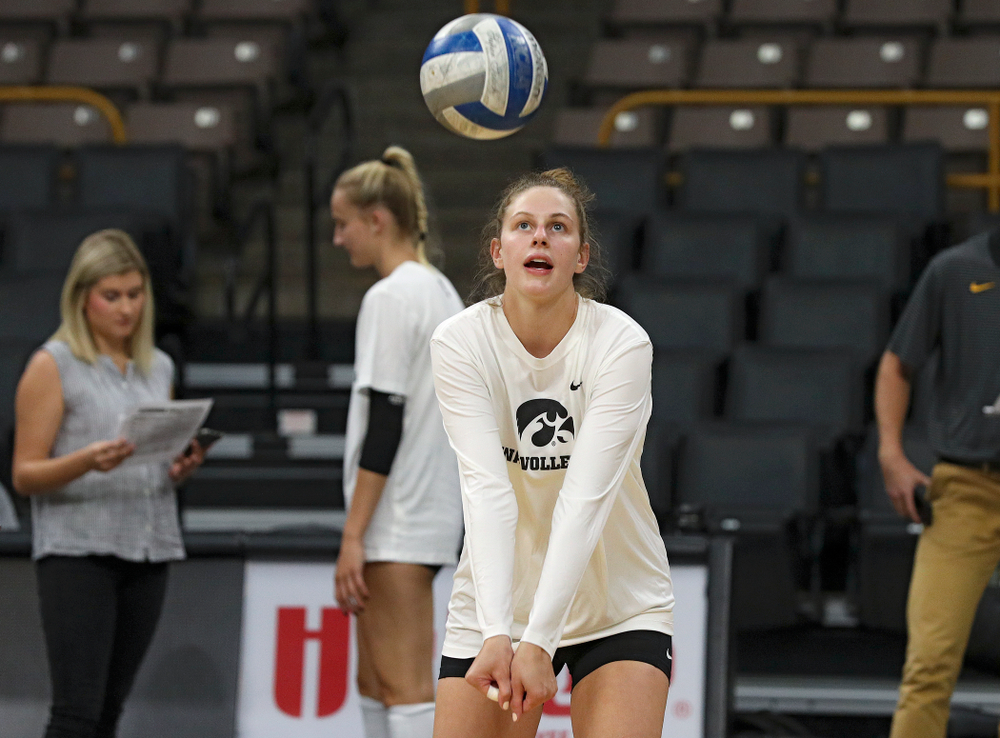 Iowa's Emma Grunkemeyer (14) during Iowa Volleyball's Media Day at Carver-Hawkeye Arena in Iowa City on Friday, Aug 23, 2019. (Stephen Mally/hawkeyesports.com)