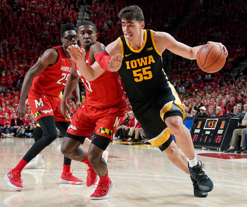 Iowa Hawkeyes center Luka Garza (55) drives with the ball during their game at the Xfinity Center in College Park, MD on Thursday, January 30, 2020. (University of Maryland Athletics)