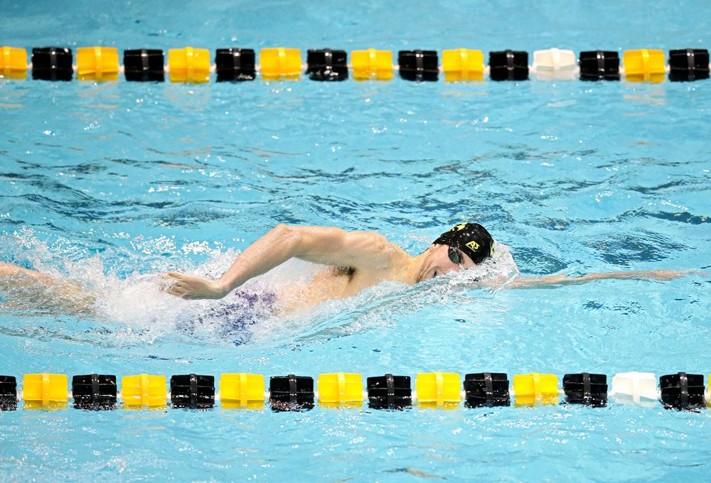 Iowa's Weston Credit swims the men's 200 yard freestyle event during their meet at the Campus Recreation and Wellness Center in Iowa City on Friday, February 7, 2020. (Stephen Mally/hawkeyesports.com)
