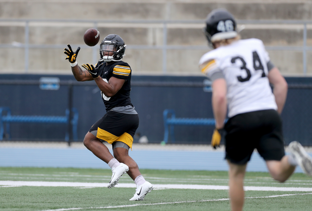 Iowa Hawkeyes running back Mekhi Sargent (10) during practice Sunday, December 22, 2019 at Mesa College in San Diego. (Brian Ray/hawkeyesports.com)