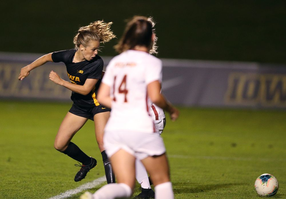 Iowa Hawkeyes forward Jenny Cape (19) scores during a 2-1 victory over the Iowa State Cyclones Thursday, August 29, 2019 in the Iowa Corn Cy-Hawk series at the Iowa Soccer Complex. (Brian Ray/hawkeyesports.com)