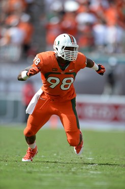 University of Miami Hurricanes defensive end Al-Quadin Muhammad #98 plays in a game against the Wake Forest Demon Deacons at Sun Life Stadium on...