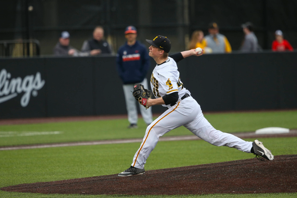 Iowa pitcher Trace Hoffman  at game 1 vs Illinois on Friday, March 29, 2019 at Duane Banks Field. (Lily Smith/hawkeyesports.com)