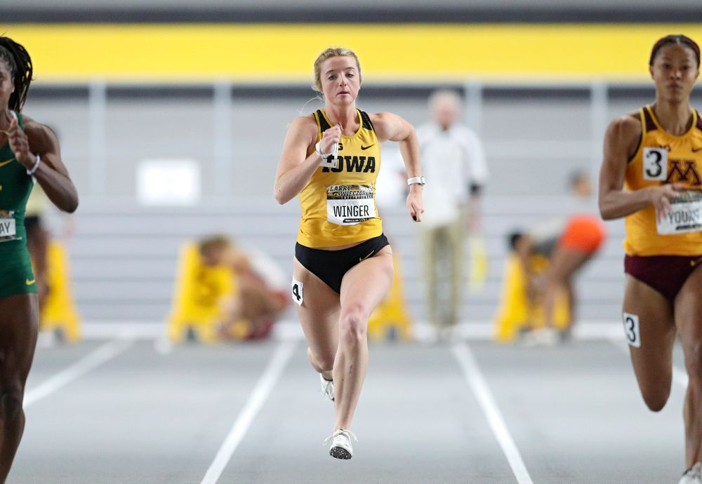 Iowa's Sydney Winger runs the women's 60 meter dash premier preliminary event during the Larry Wieczorek Invitational at the Recreation Building in Iowa City on Saturday, January 18, 2020. (Stephen Mally/hawkeyesports.com)