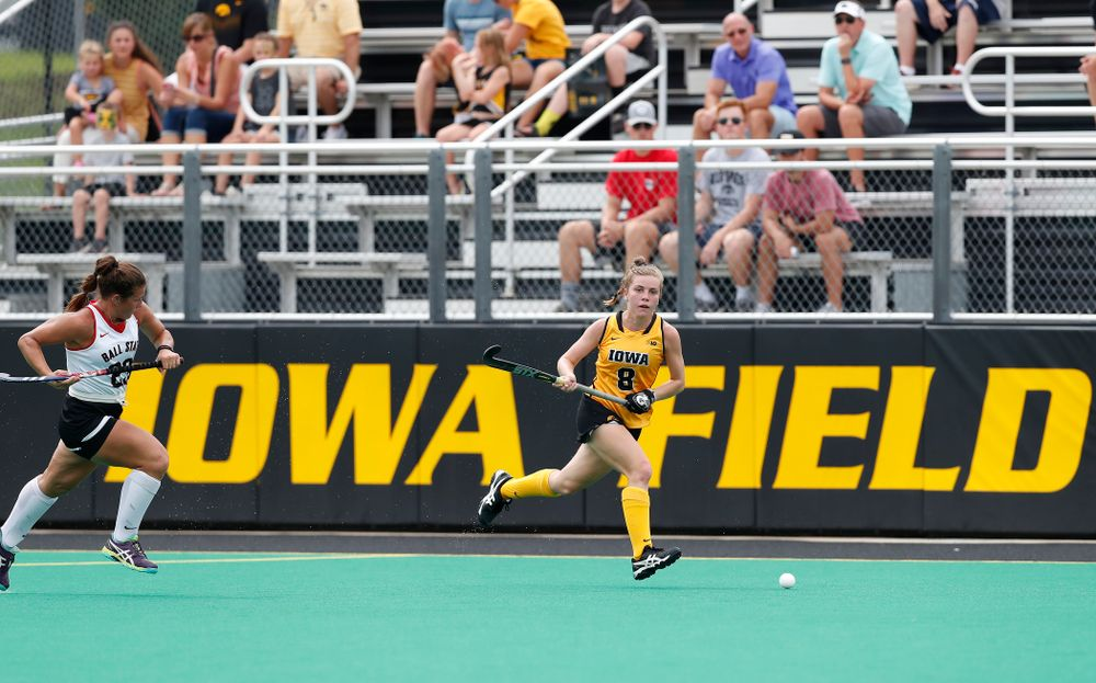 Iowa Hawkeyes Nikki Freeman (8) against Ball State Sunday, September 2, 2018 at Grant Field. (Brian Ray/hawkeyesports.com)