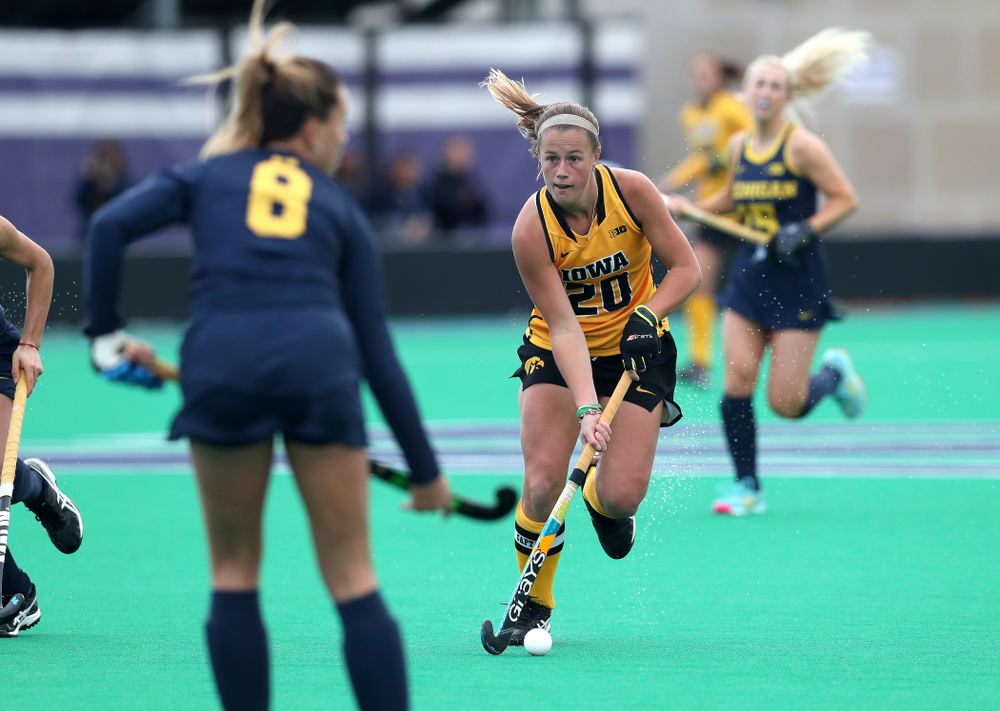 Iowa Hawkeyes Sophie Sunderland (20) against the Michigan Wolverines in the semi-finals of the Big Ten Tournament Friday, November 2, 2018 at Lakeside Field on the campus of Northwestern University in Evanston, Ill. (Brian Ray/hawkeyesports.com)