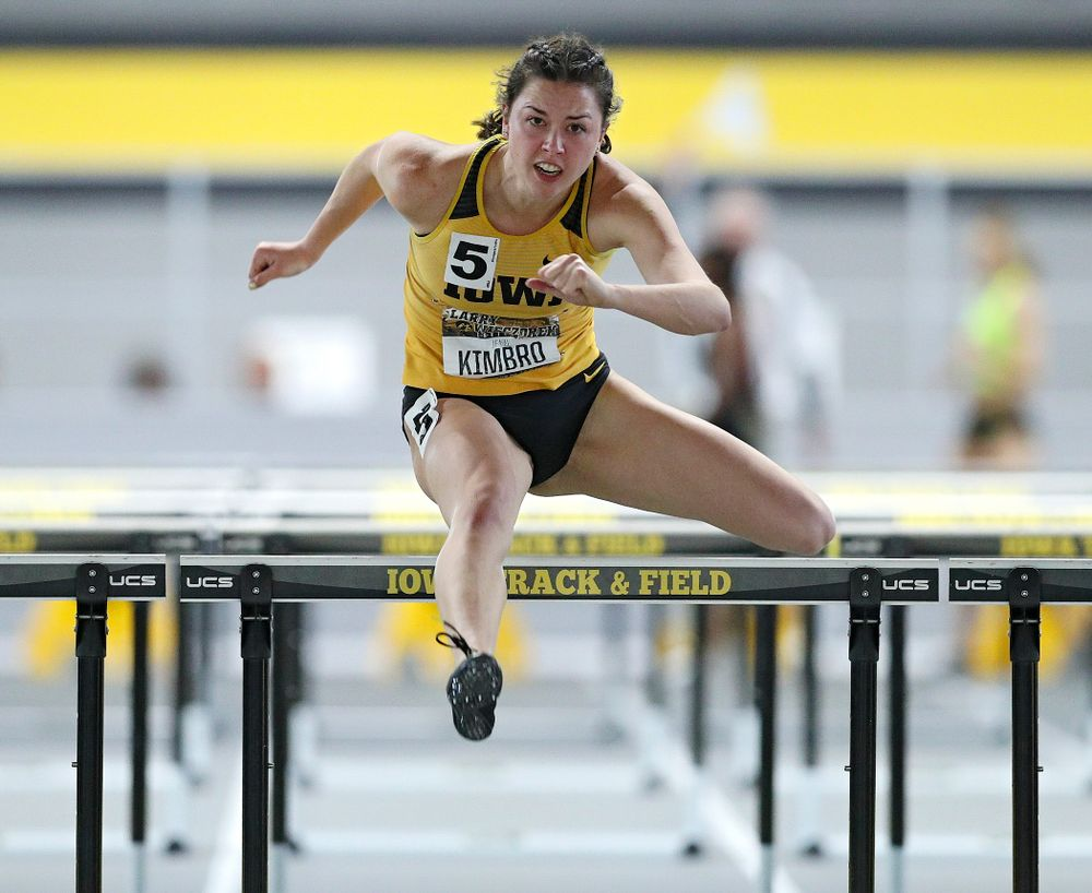 Iowa's Jenny Kimbro runs the women's 60 meter hurdles premier event during the Larry Wieczorek Invitational at the Recreation Building in Iowa City on Saturday, January 18, 2020. (Stephen Mally/hawkeyesports.com)