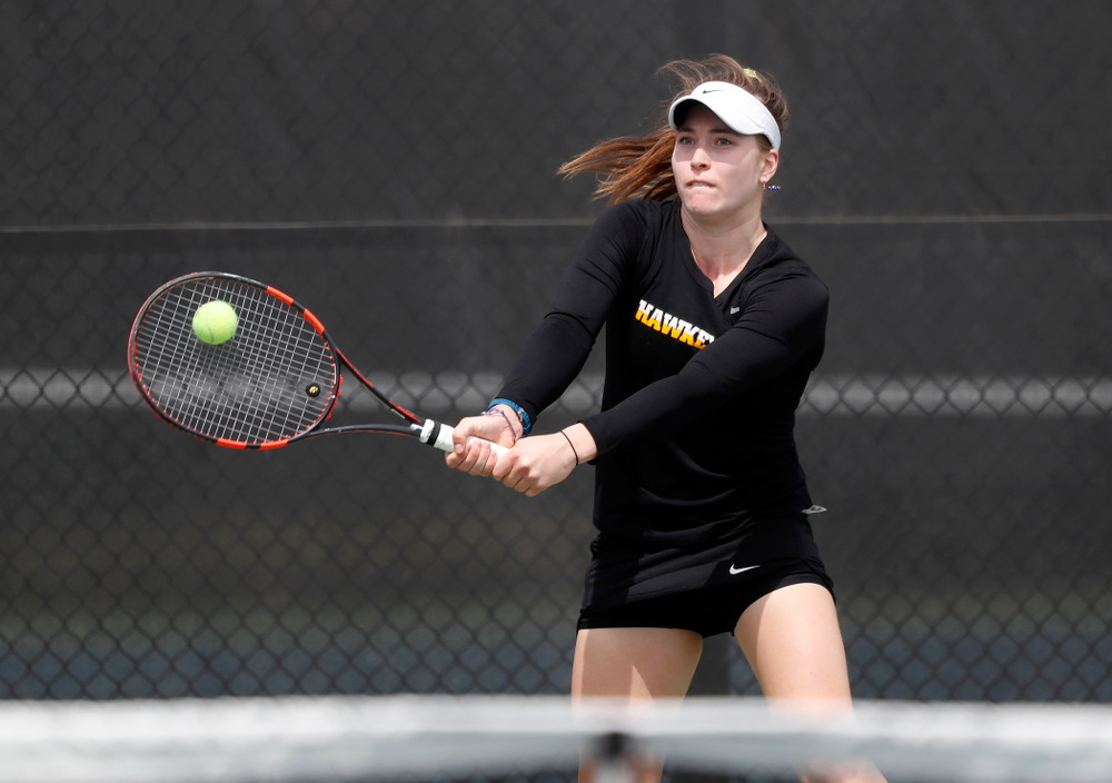 Iowa's Anastasia Reimchen against the Wisconsin Badgers Sunday, April 22, 2018 at the Hawkeye Tennis and Recreation Center. (Brian Ray/hawkeyesports.com)