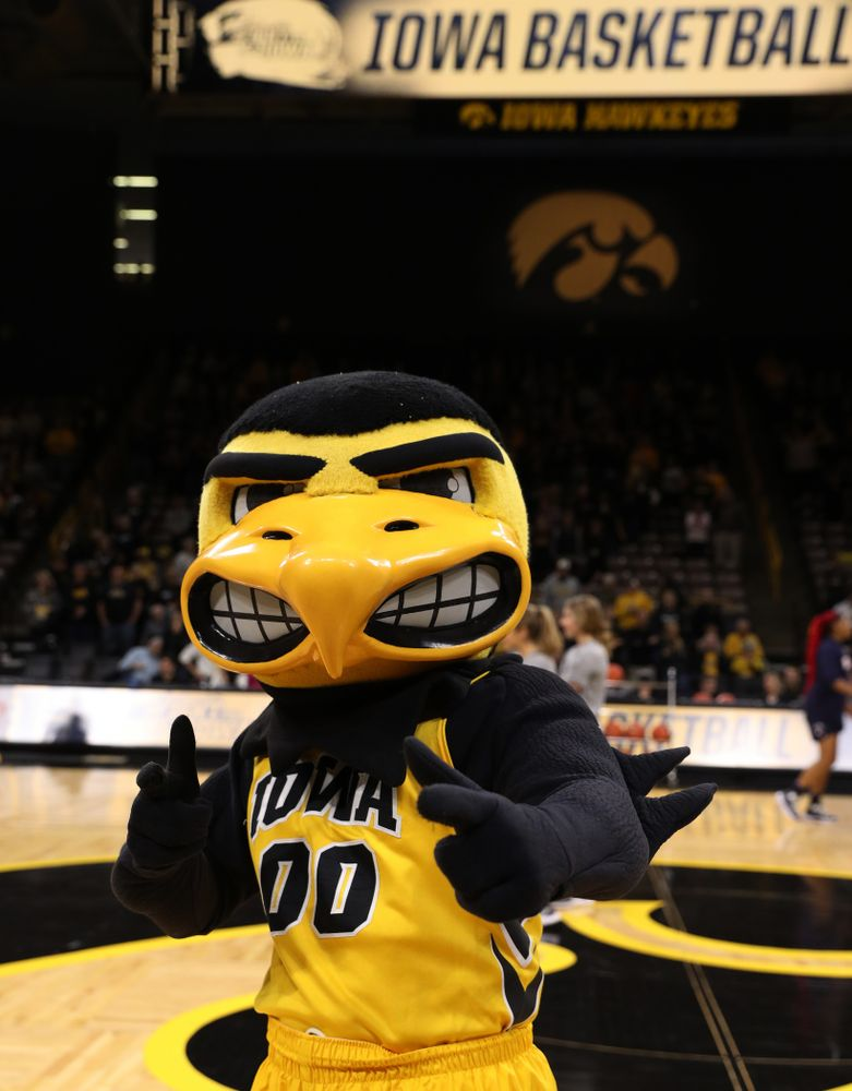 Herky The Hawk against the Robert Morris Colonials Sunday, December 2, 2018 at Carver-Hawkeye Arena. (Brian Ray/hawkeyesports.com)