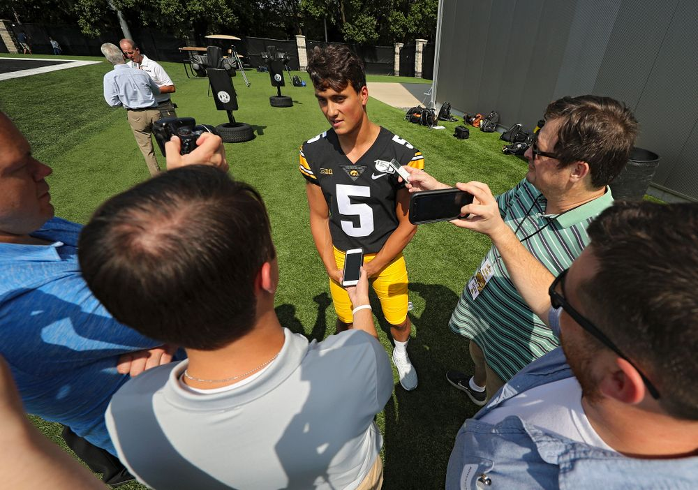 Iowa Hawkeyes wide receiver Oliver Martin (5) answers questions during Iowa Football Media Day at the Hansen Football Performance Center in Iowa City on Friday, Aug 9, 2019. (Stephen Mally/hawkeyesports.com)
