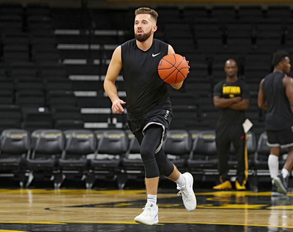 Iowa Hawkeyes guard Jordan Bohannon (3) brings the ball down the court during practice at Carver-Hawkeye Arena in Iowa City on Wednesday, Oct 9, 2019. (Stephen Mally/hawkeyesports.com)