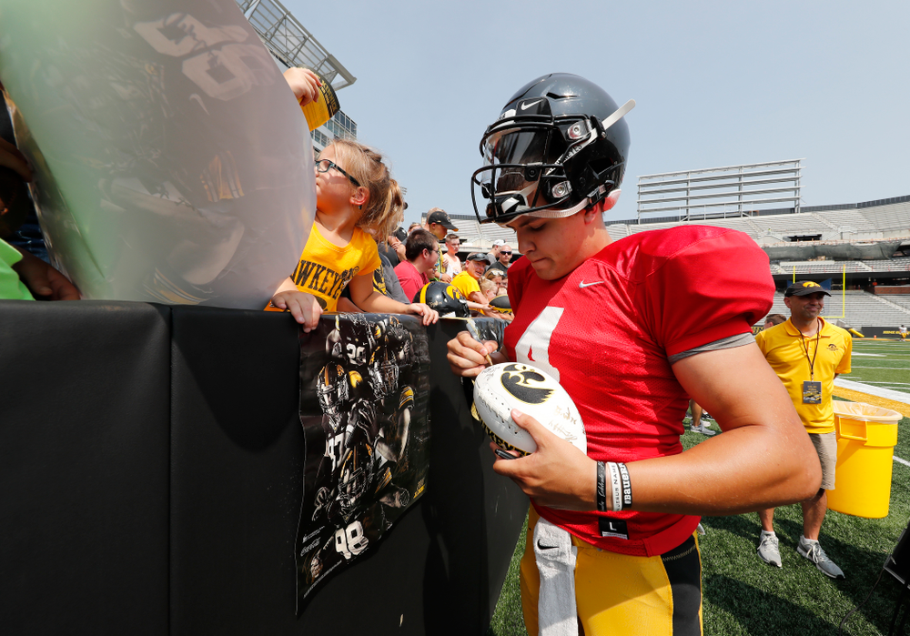 Iowa Hawkeyes quarterback Nathan Stanley (4) during Kids Day Saturday, August 11, 2018 at Kinnick Stadium. (Brian Ray/hawkeyesports.com)