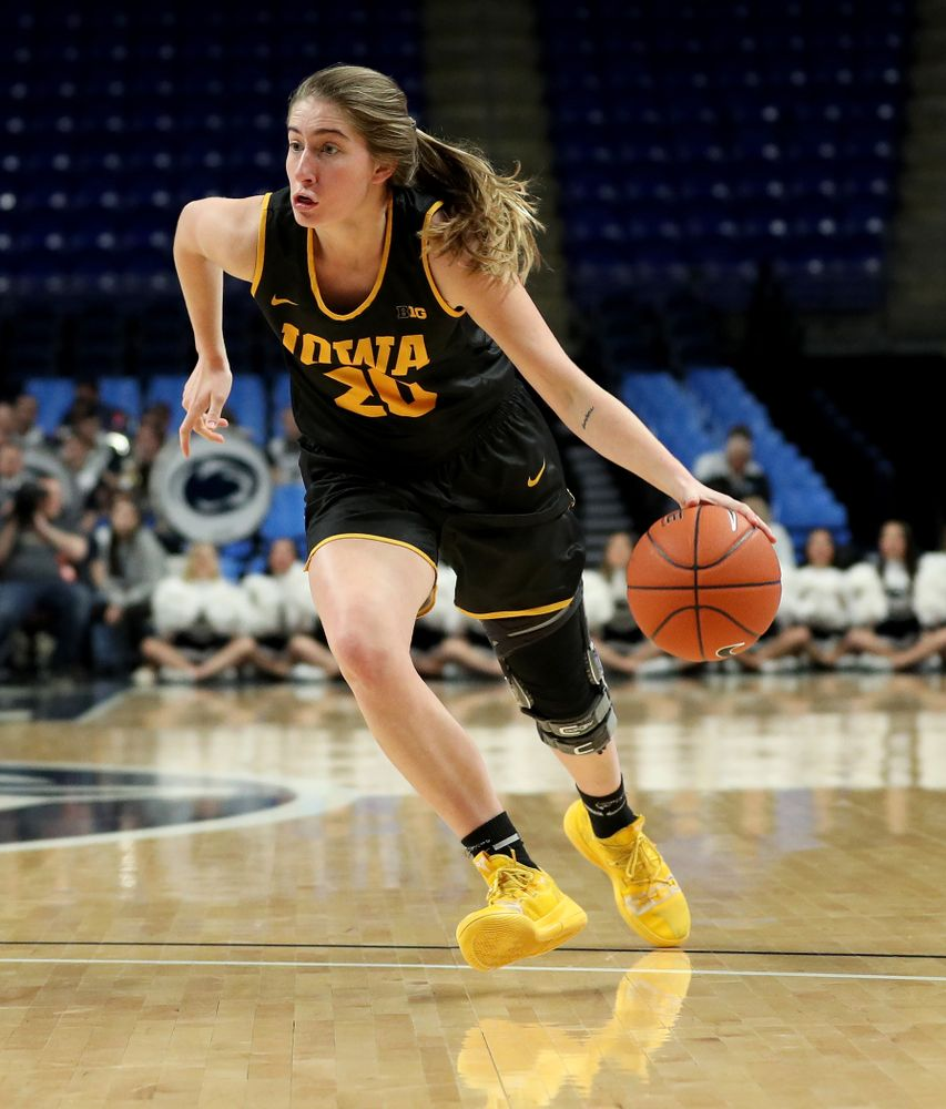 Iowa Hawkeyes guard Kate Martin (20) against the Penn State Nittany Lions Thursday, January 30, 2020 at the Bryce Jordan Center. (Brian Ray/hawkeyesports.com)