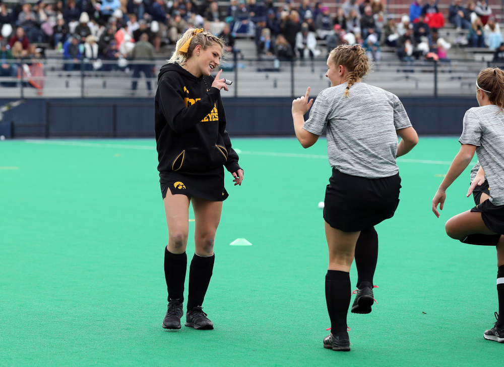 Iowa Hawkeyes Katie Birch (11) and Ellie Holley (7) warm up for their game against Penn State in the 2019 Big Ten Field Hockey Tournament Championship Game Sunday, November 10, 2019 in State College. (Brian Ray/hawkeyesports.com)