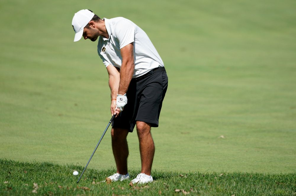 Iowa's Gonzalo Leal hits a shot during the second day of the Golfweek Conference Challenge at the Cedar Rapids Country Club in Cedar Rapids on Monday, Sep 16, 2019. (Stephen Mally/hawkeyesports.com)