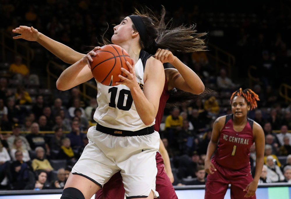 Iowa Hawkeyes forward Megan Gustafson (10) goes up for a shot during a game against North Carolina Central at Carver-Hawkeye Arena on November 17, 2018. (Tork Mason/hawkeyesports.com)