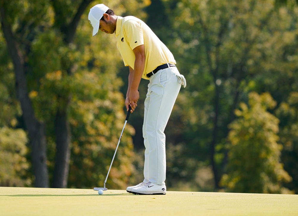 Iowa's Joe Kim putts during the third day of the Golfweek Conference Challenge at the Cedar Rapids Country Club in Cedar Rapids on Tuesday, Sep 17, 2019. (Stephen Mally/hawkeyesports.com)