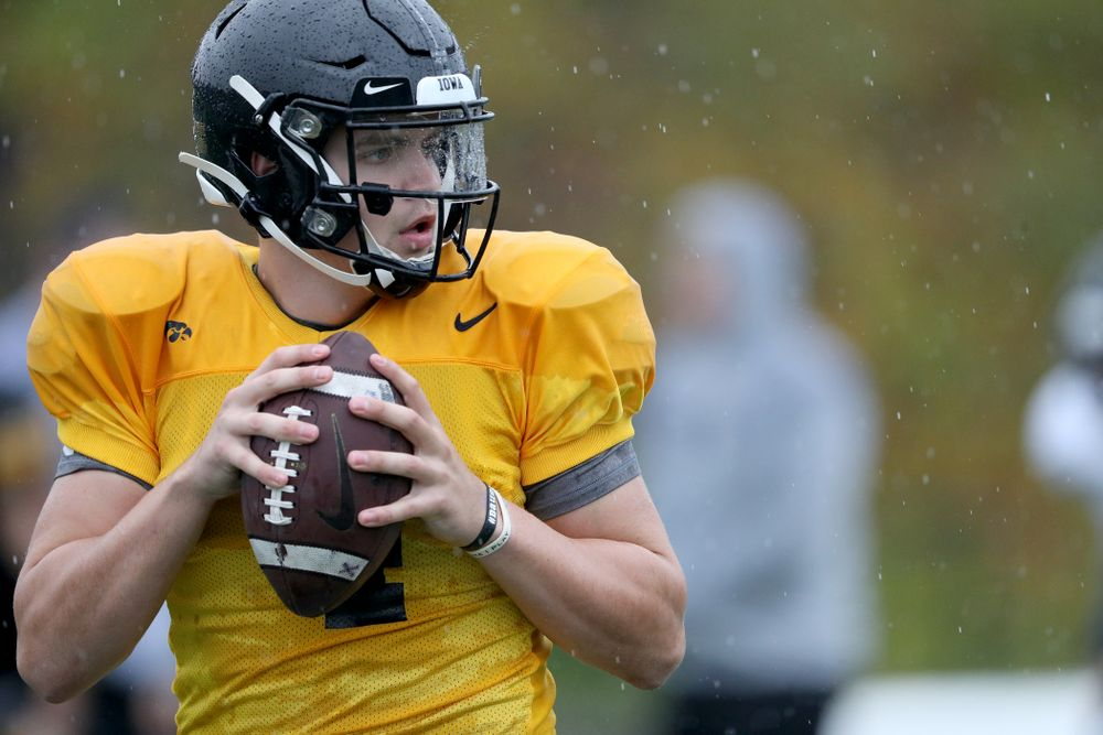 Iowa Hawkeyes quarterback Nate Stanley (4) during practice Monday, December 23, 2019 at Mesa College in San Diego. (Brian Ray/hawkeyesports.com)