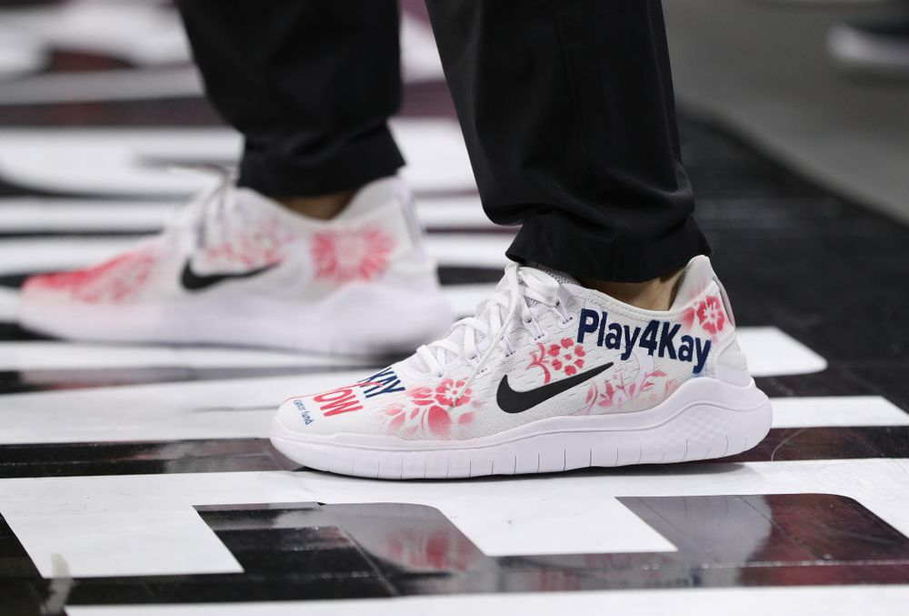 Iowa Hawkeyes head coach Lisa Bluder wears a special pair of shoes honoring the Kay Yow Cancer Fund during their game against the seventh ranked Maryland Terrapins Sunday, February 17, 2019 at Carver-Hawkeye Arena. (Brian Ray/hawkeyesports.com)