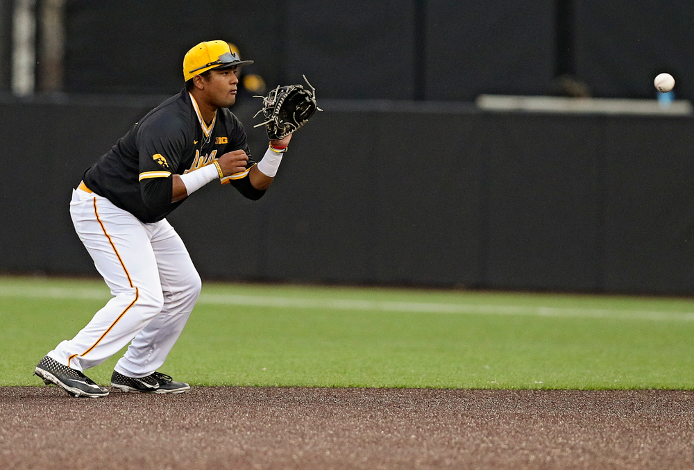 Iowa Hawkeyes second baseman Izaya Fullard (20) looks in a ball during the seventh inning of their game against Illinois State at Duane Banks Field in Iowa City on Wednesday, Apr. 3, 2019. (Stephen Mally/hawkeyesports.com)