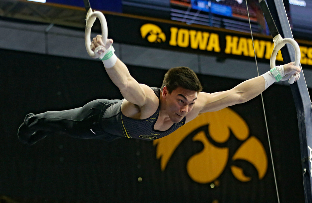 Iowa's Brandon Wong competes in the rings against Ohio State at Caver-Hawkeye Arena in Iowa City on Saturday, Mar. 16, 2019. (Stephen Mally for HawkeyeSports.com)